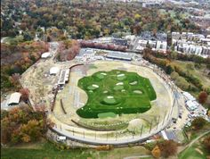 Rana Creek, Grimshaw Architects, and Ken Smith Landscape Architect partnered together to create the worlds first rooftop driving range. Underneath the driving range is 392,000 SF of Hydrotech MM6125 waterproofing protecting New York City's drinking water.