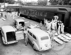 Navy's wounded being brought home from Battle of the Bulge. WWII
