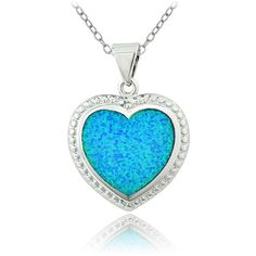 Glitzy Rocks Silvertone Created Blue Opal Heart Necklace (42 BRL) ❤ liked on Polyvore featuring jewelry, necklaces, accessories, blue, opal necklace, heart pendant, thick chain necklace, blue pendant necklace and heart pendant necklace