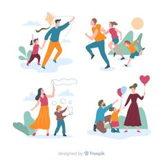 Discover thousands of free-copyright vectors on Freepik Fox Illustration, Family Illustration, People Illustration, Illustrations, Character Illustration, Walking Cartoon, Character Flat Design, Collages, Family Vector