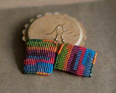 Colorful Rectangle Macrame Earrings