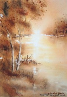 by Chantal Jodin. Watercolor Landscape, Abstract Watercolor, Watercolor And Ink, Landscape Paintings, Watercolor Paintings, Watercolours, Watercolor Techniques, Art Techniques, Light Painting