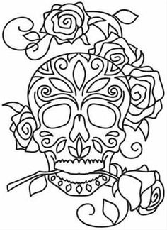 Embroidery Designs at Urban Threads - Dia de los Muertos Skull Coloring Pages, Coloring Book Pages, Coloring Sheets, Adult Coloring, Los Muertos Tattoo, Urban Threads, Skull Art, Embroidery Patterns, Henna Patterns