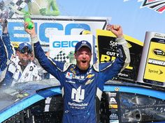 Dale Earnhardt celebrates victory at the Geico 500 in Talladega Superspeedway 11 yrs after his last win.