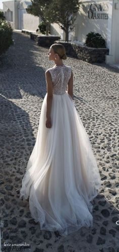 Julie Vino bride from Santorini 2016 Bridal Collection.
