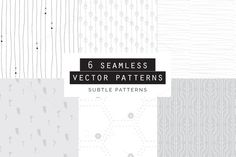 Subtle Seamless Patterns Set of 6 by Youandigraphics on Embroidery Patterns, Quilt Patterns, Knitting Patterns, Sewing Patterns, Vector Pattern, Pattern Art, Pattern Design, Pattern Ideas, Textures Patterns