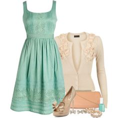 Mint dress with cream cardigan- great spring or summer outfit-great for a date, attending a wedding