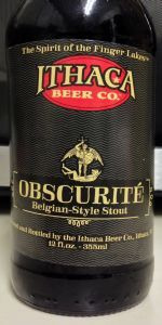Obscurite is a Belgian Strong Dark Ale style beer brewed by Ithaca Beer Company in Ithaca, NY. 87 out of 100 with 93 ratings, reviews and opinions.