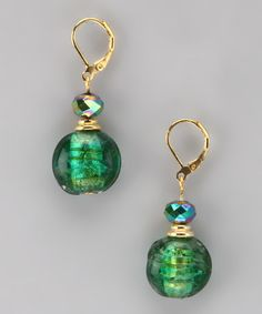 Take a look at this Alexa Starr Emerald Murano Glass Drop Earrings by Alexa Starr Jewelry on #zulily today!