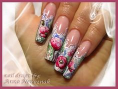 Aquarelle  Pink Poppies by Arinita - Nail Art Gallery nailartgallery.nailsmag.com by Nails Magazine www.nailsmag.com #nailart