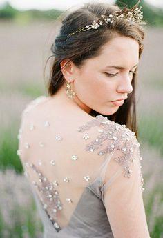 Elysium / Exclusive gown long sleeve wedding dress braun evening dress low back dress bridesmaid dress with sleeves lace wedding dress