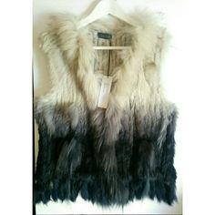 New Love token genuine rabbit fur Emil Vest Classic ombre rabbit fur vest with raccoon contrast Shell 100% rabbit fur Contrast 100% raccoon fur Inner mesh 100% cotton Love Token Jackets & Coats