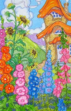 """Daily Paintworks - """"Tall Ones in the Garden Storybook Cottage Series"""" - Original Fine Art for Sale - © Alida Akers"""