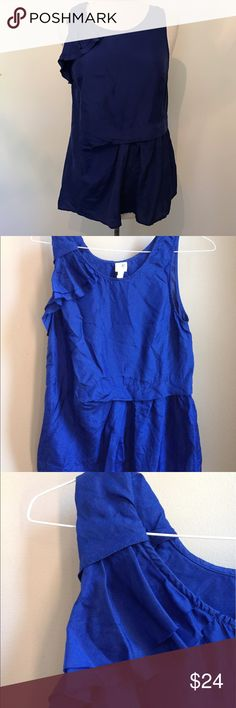 "Anthro Edme Esyllte Cobalt Blue Silk Ruffle Blouse Edme Esyllte Cobalt Blue Silk Asymmetric Ruffle Top (sorry for the wrinkles- my steamer died). EUC. Size 4- runs big. C17.5"", W18.5"", L27.5"". Anthropologie Tops"
