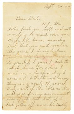 """John Dillinger's autographed letter signed """"Johnnie"""" to his father from prison in Lima, Ohio."""