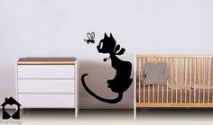 Cat and Bee vinyl decal - Cat and bee wallsticker for kids bedroom - 36_
