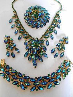 Juliana Peacock Watermelon Rhinestone Parure: Necklace, Bracelet, Pin, and matching earrings