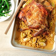 Slow-roast lamb with flageolet beans | Easy Sunday lunch recipes | Red Online