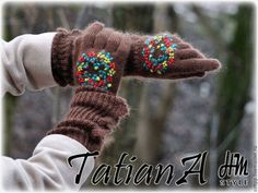 """Кружевные мохеровые перчатки """"Цветочный круговорот"""" - перчатки,перчатки женские"""