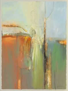 "Mixed Media Artists International: Contemporary Botanical Abstract Landscape Painting ""Stillness"" by Intuitive Artist Joan Fullerton"