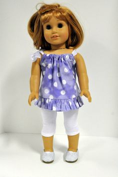 American Girl Doll Clothes Purple with White Polka Dots Top with Ruffle and  Pink Leggings 18 inch