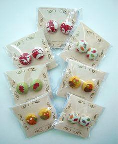 Nature Earrings: Fox, Owl and Leaf Handmade Fabric Colours Kawaii