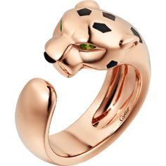 Cartier - Panthère de Cartier ring - Ring Pink gold - Panthère de Cartier ring, 18K pink gold, onyx, set with 2 tsavorite garnets. Yellow Gold Rings, Pink And Gold, White Gold, Jeanne Toussaint, Jewelry Sets, Fine Jewelry, Cartier Panthere, Trinity Ring, 18k Rose Gold