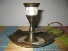 Vintage brass candle holder, mother of pearl brass.  Found a few of these at a yard sale this weekend, score!  :D
