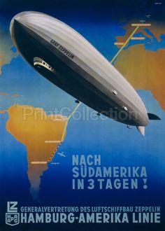 1937 Graf Zeppelin Vintage German Hamburg - Amerika Line Travel Poster - Retro Poster, Art Deco Posters, Vintage Travel Posters, Poster Prints, Poster On, Poster Wall, Poster Ideas, American Line, American Art