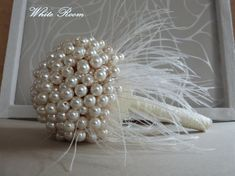 FREE SHIPPING WORLDWIDE !!!! For next order discount 5$ Wedding pearl bouquet, Brooch bouquet, Handmade bouquet, Wedding bouquet, Feather bouquet, Ivory bouquet, Bride bouquet, Vintage bouquet This amazing bouquet all handmade work with ivory pearls, ostrich feather,satin