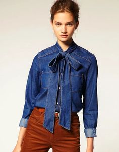 "Denim blouse with pussy bow tie. Did you guys know that was called a ""pussy bow tie? Can it be DIYed? Denim Fashion, Look Fashion, Fashion Outfits, Womens Fashion, Fashion Trends, Stylish Outfits, Denim Blouse, Bow Blouse, Denim Top"
