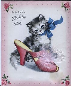 Vintage Birthday Card Kitten with Slipper with Feathers | eBay