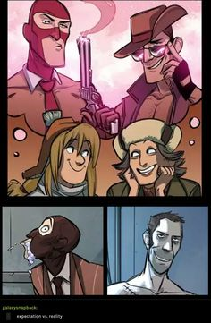 Sniper vs the girls so what you think you look like when you get your Con Tf2 Comics, Funny Comics, Funny Images, Funny Pictures, Tf2 Sniper, Tf2 Funny, Team Fortress 2 Medic, Tf2 Memes, Knight Art