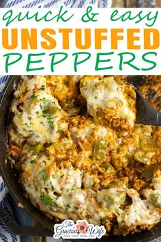 Get all the delicious comforting flavor you love in classic stuffed peppers with these equally yummy but twice as easy Unstuffed Peppers. Makes a full meal, all in one skillet! Unstuffed peppers are packed with ground beef, bell peppers, rice, tangy tomato sauce, and lots of gooey cheese to finish it off. It is ridiculously easy to make. Plus, it's a full meal in one skillet. | @graciouswife #unstuffedpeppersrecipe #easyfamilydinner #comfortfoodrecipes #bestunstuffedpeppersrecipe Unstuffed Peppers, Easy Family Dinners, Menu Planning, Tomato Sauce, Ground Beef, Cauliflower, Meals, Chicken, Vegetables