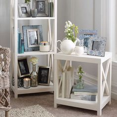 The antique white painted mango wood table is ideal as a coffee or side table with a criss cross design and low shelf for extra storage. Square Side Table, Low Shelves, Shelf, Wooden Tables, Beautiful Space, Home Accessories, Shabby Chic, Criss Cross, Interior Design