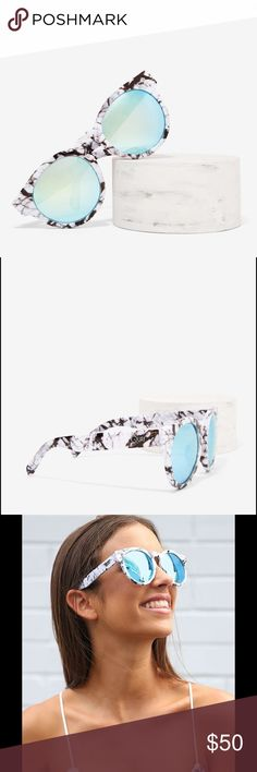 Quay Australia High Emotion Marble Blue Shades BRAND NEW WITH TAGS. Purchased from Nasty Gal. I will ship this item with everything pictured in the 4th picture (aka Nasty gal box, sunglasses, and Quay sunglass case). These modern sunnies feature a classic shaped plastic frame, keyhole nose gap, round lenses and molded nose bridge. The marble frames feature mirrored lenses.   Polycarbonate Frame. Polycarbonate Lens. Stainless Steel Hinges. 100% UV protection. Width: 150mm. Height: 56mm. Nose…