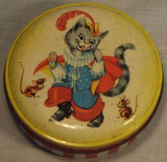 SUPER HORNERS TOFFEE NURSERY RHYME STORY PUSS IN BOOTS MICE TIN C1950S