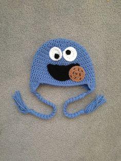 Crochet Sesame Street Cookie Monster Earflap Beanie Hat - $24.00