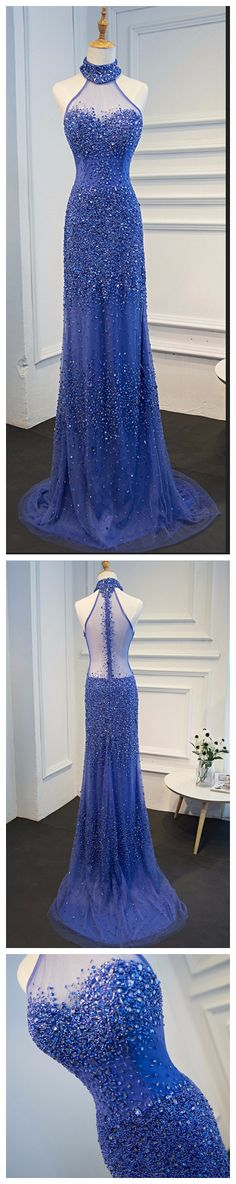 Charming Prom Dress, Halter Royal Blue Mermaid Evening Dress on Luulla