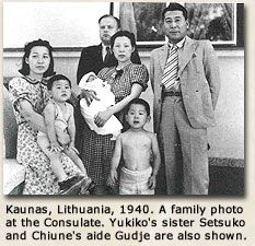 "Chiune Sugihara saved 6000 Jews from the Nazis. Here with his young family in happy times before the Nazis invaded Lithuania. The Russians imprisoned the family after the war. On release the Japanese foreign service fired the former diplomatic star, forcing him to do odd jobs to support his family. Israel honoured Sugihara with the ""Righteous Among Nations"" award before his death. Suprised by this recognition he told his wife, I did what any decent human being would have done."""