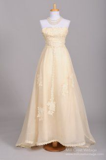 1970's Strapless Organza & Lace Princess Vintage Wedding Gown