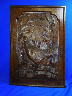 Antique German Oak Wood Carved Hunting Scene Bird Picture #<
