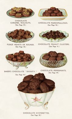 Old Fashioned Chocolate Sweets ~ Free Vintage Cookbook Page