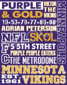Minnesota Vikings Subway Art by 515DesignStudio on Etsy, $20.00