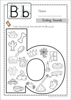 Ending Sounds - Color It! Includes separate pages for some middle sounds too! Fun for preschool and kindergarten! Phonics Activities, Alphabet Activities, Classroom Activities, Alphabet Worksheets, Beginning Sounds Worksheets, Jolly Phonics, Preschool Lessons, Preschool Kindergarten, Kids Education