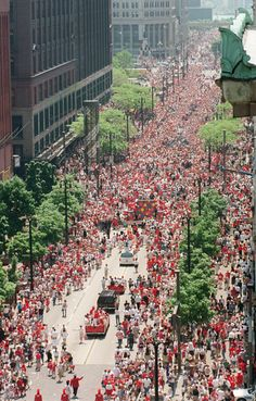 Woodward Ave through the years. RED WINGS STANLEY CUP! 1997 I was downtown the night they won.