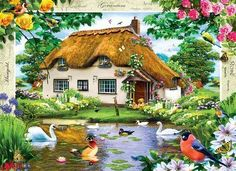 Flower Cottages: Swan Cottage (1000 Piece Puzzle by MasterPieces)