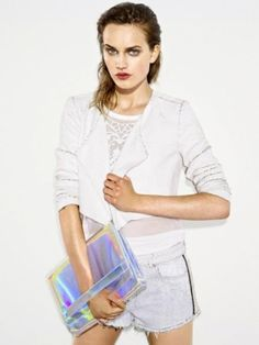 holographic clutch + all white