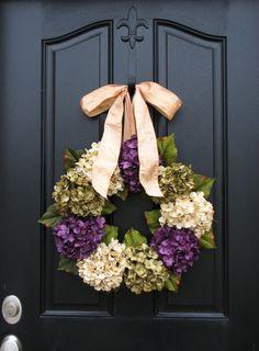 Spring Wreaths, Hydrangea Wreath, Spring Decorations, Online Wreath, Spring Hydrangeas, Spring Home Decor. $85.00, via Etsy.