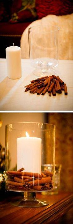 Candle DIY Cinnamon Candle in an apothecary jar. Easy idea for a great home smellDIY Cinnamon Candle in an apothecary jar. Easy idea for a great home smell Fall Crafts, Holiday Crafts, Holiday Fun, Diy Crafts, Festive, Leaf Crafts, Holiday Ideas, Noel Christmas, Christmas Candles
